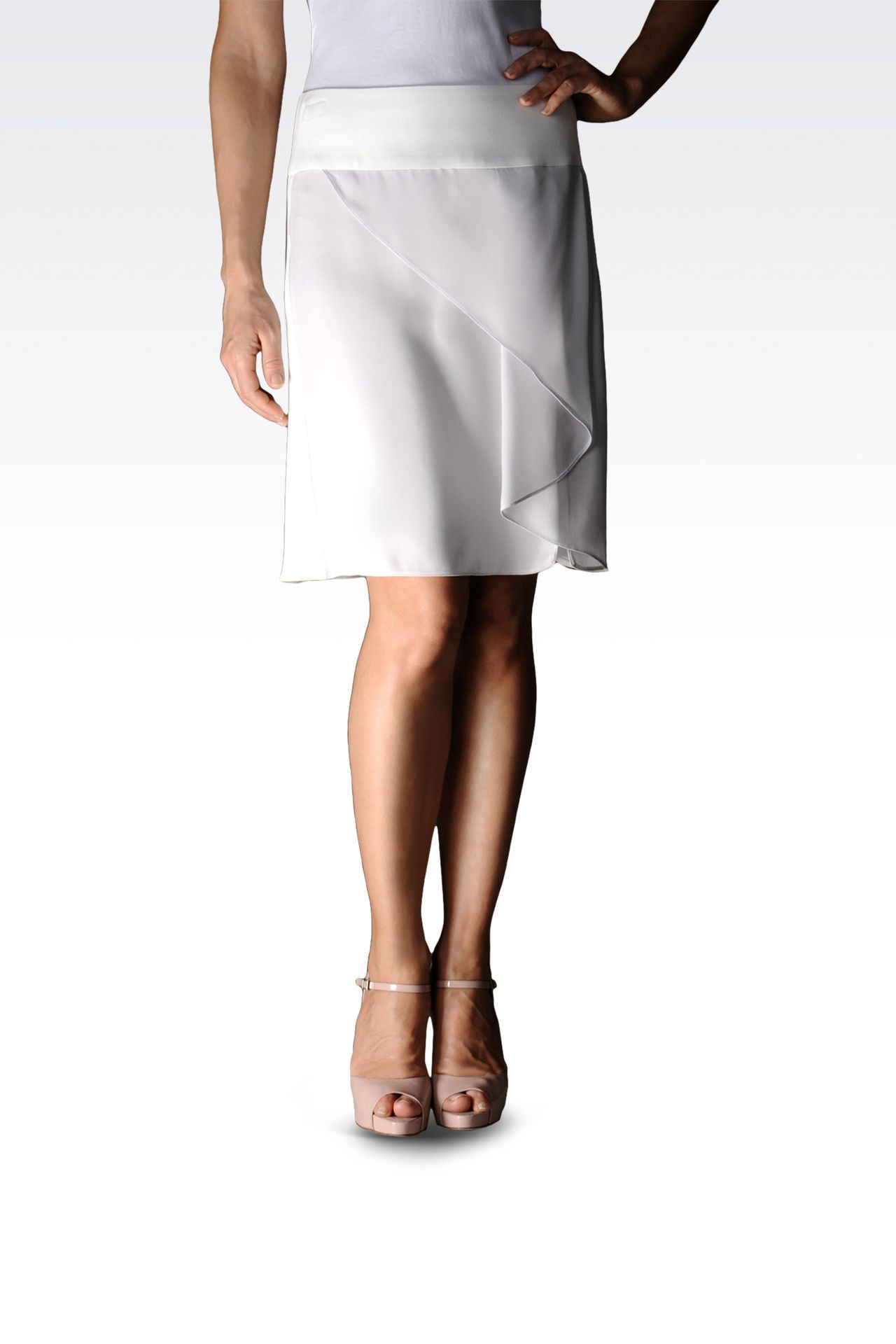 crêpe skirt with flounces and waistband: Mini skirts Women by Armani - 0