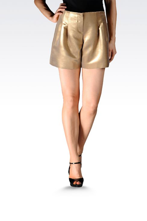 runway bermuda shorts with darts lamé effect: Bermuda shorts Women by Armani - 1