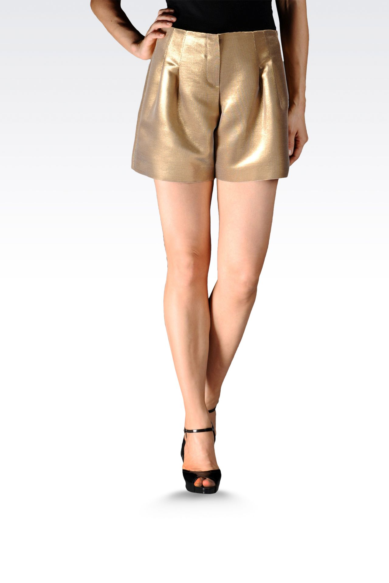 runway bermuda shorts with darts lamé effect: Bermuda shorts Women by Armani - 0