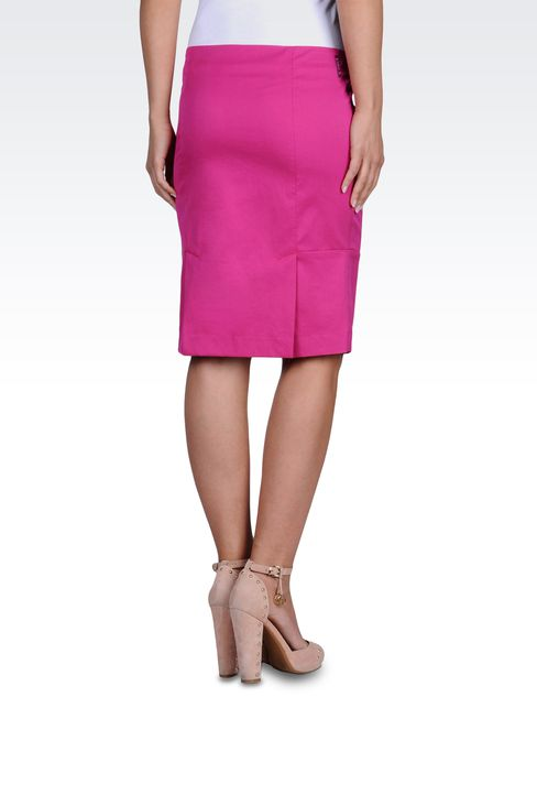 KNEE-LENGTH SKIRT IN STRETCH TECHNO TWILL: Knee length skirts Women by Armani - 2