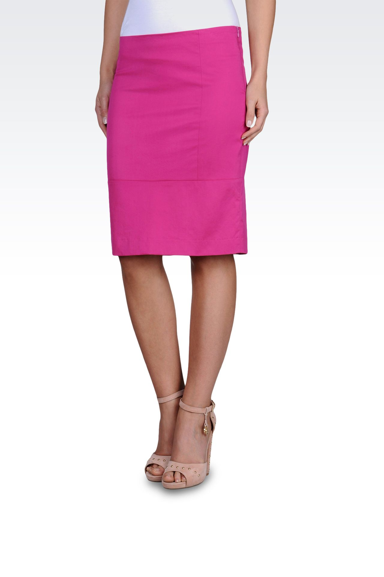 KNEE-LENGTH SKIRT IN STRETCH TECHNO TWILL: Knee length skirts Women by Armani - 0