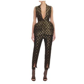 ALEXANDER MCQUEEN, Pants, Honeycomb Lace Slit Cropped Trousers