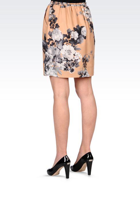 PRINTED SILK SKIRT WITH DRAWSTRING: Print skirts Women by Armani - 3