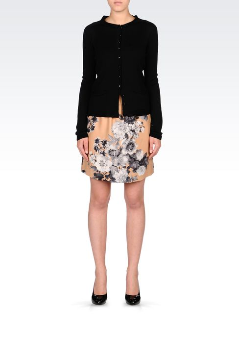 PRINTED SILK SKIRT WITH DRAWSTRING: Print skirts Women by Armani - 1