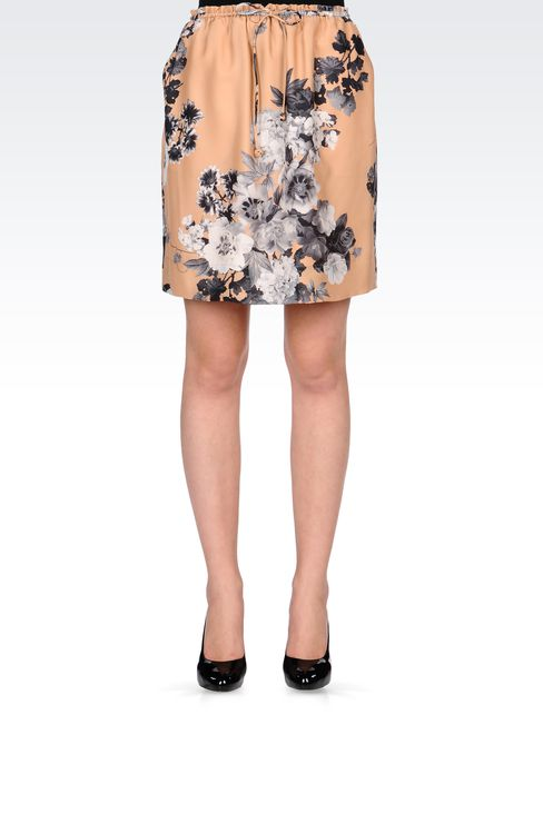 PRINTED SILK SKIRT WITH DRAWSTRING: Print skirts Women by Armani - 2