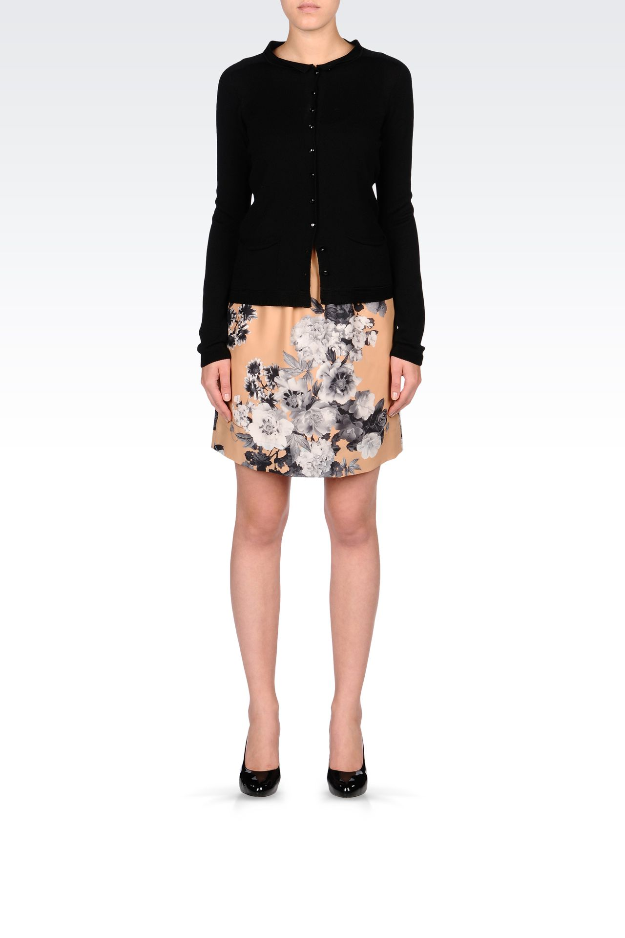 PRINTED SILK SKIRT WITH DRAWSTRING: Print skirts Women by Armani - 0