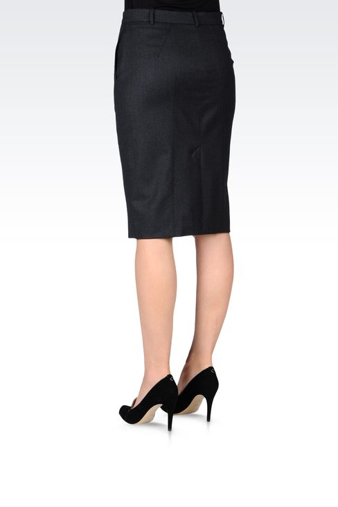 FLANNEL PENCIL SKIRT: Knee length skirts Women by Armani - 3