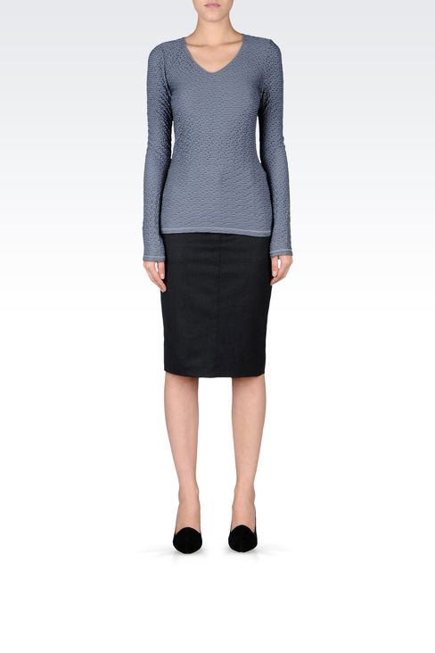 FLANNEL PENCIL SKIRT: Knee length skirts Women by Armani - 1