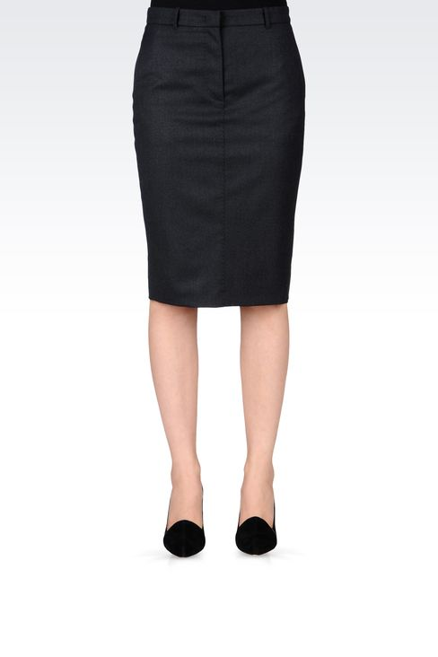 FLANNEL PENCIL SKIRT: Knee length skirts Women by Armani - 2