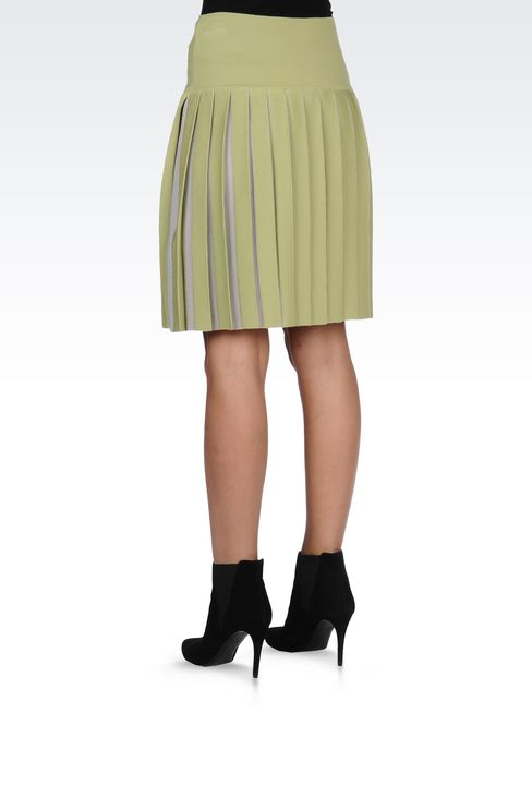 WOOL SKIRT WITH TWO-COLOR PLEATS: Knee length skirts Women by Armani - 3