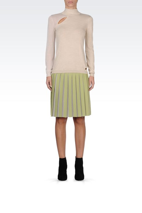 WOOL SKIRT WITH TWO-COLOR PLEATS: Knee length skirts Women by Armani - 1