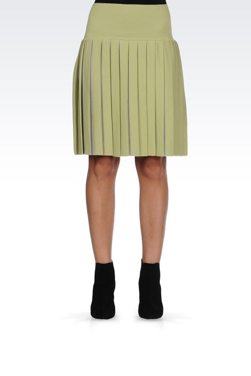 WOOL SKIRT WITH TWO-COLOR PLEATS: Knee length skirts Women by Armani - 2