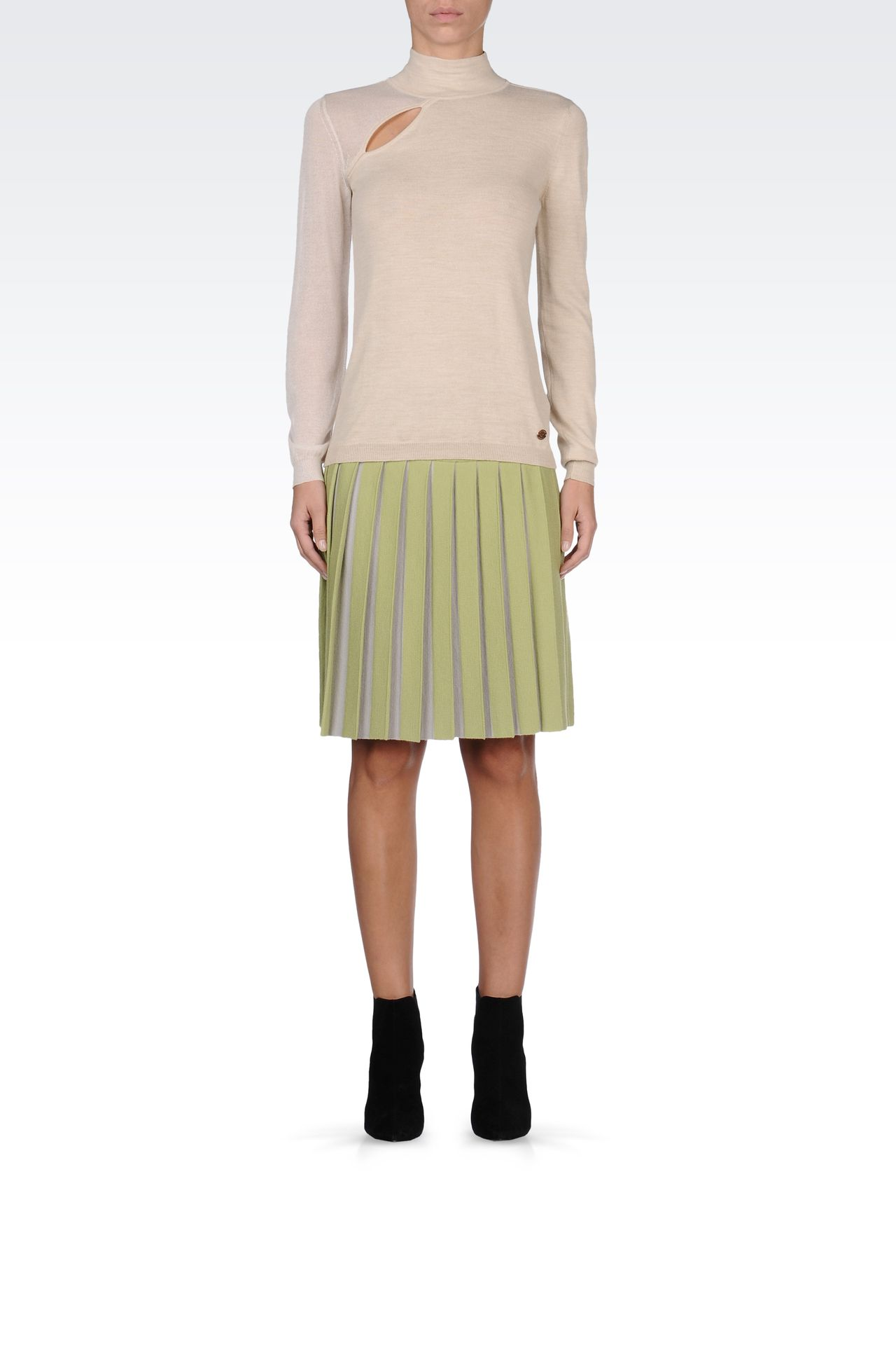 WOOL SKIRT WITH TWO-COLOR PLEATS: Knee length skirts Women by Armani - 0