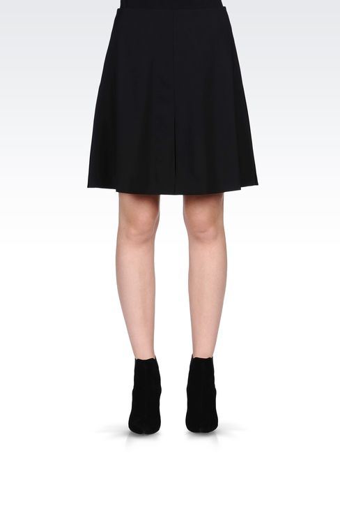 TRAPEZE SKIRT IN STRETCH WOOL: Knee length skirts Women by Armani - 2