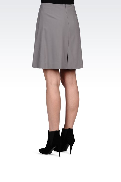 TRAPEZE SKIRT IN STRETCH WOOL: Knee length skirts Women by Armani - 3