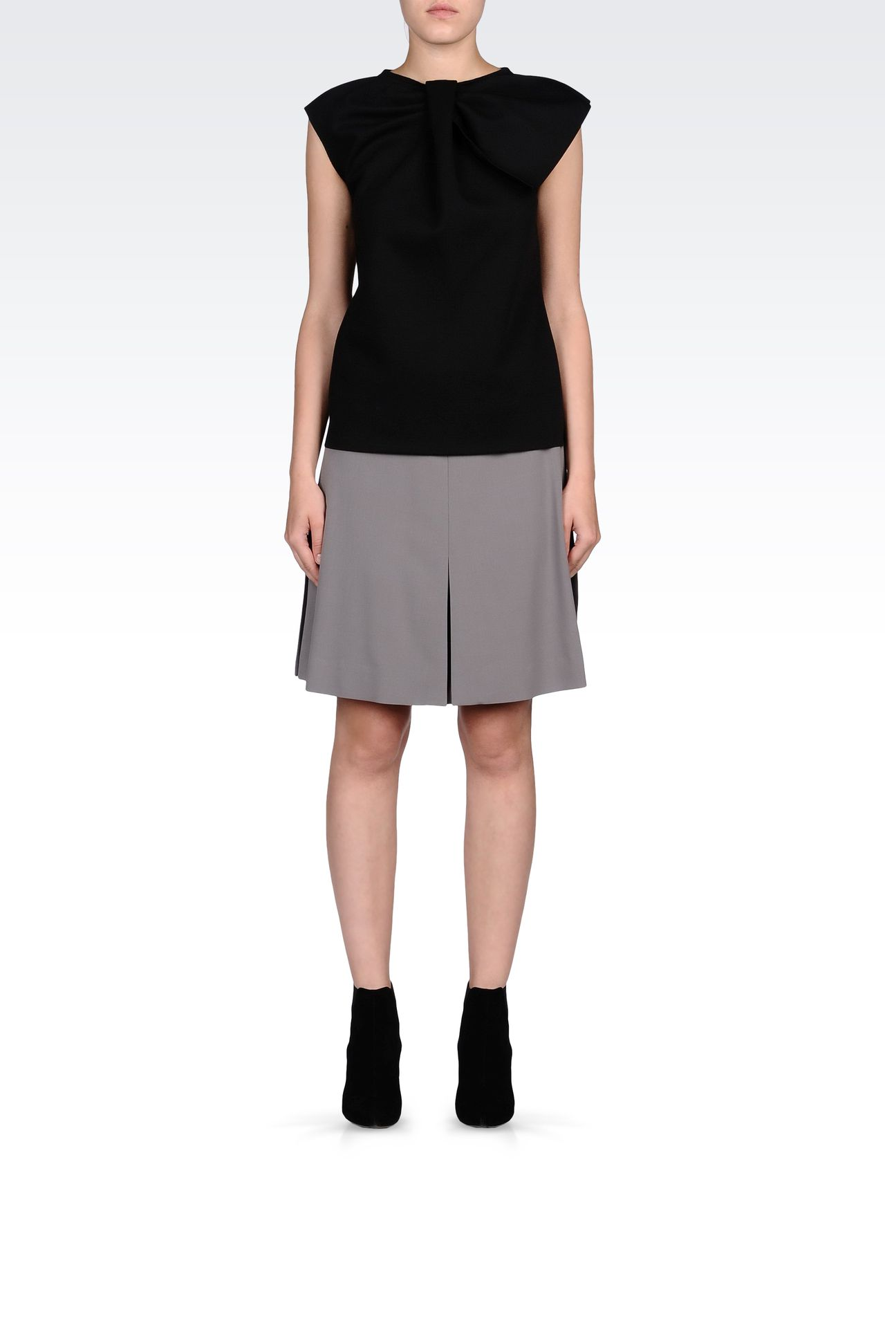TRAPEZE SKIRT IN STRETCH WOOL: Knee length skirts Women by Armani - 0