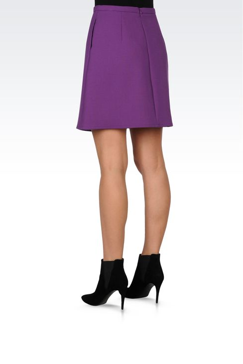TRAPEZE SKIRT IN STRETCH WOOL: Mini skirts Women by Armani - 3