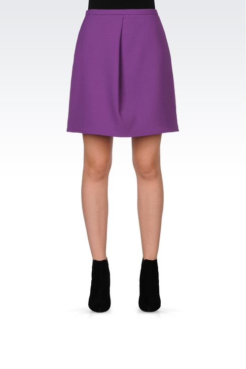 TRAPEZE SKIRT IN STRETCH WOOL: Mini skirts Women by Armani - 2