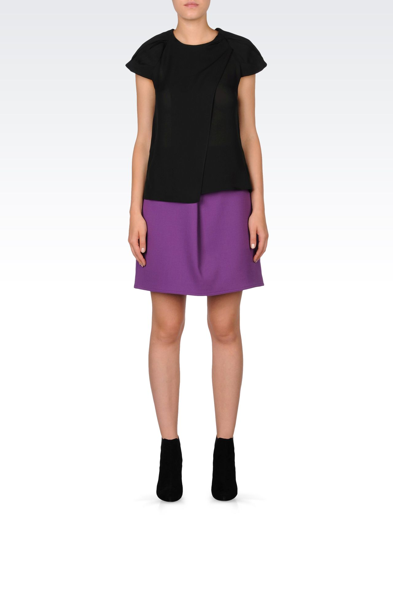 TRAPEZE SKIRT IN STRETCH WOOL: Mini skirts Women by Armani - 0
