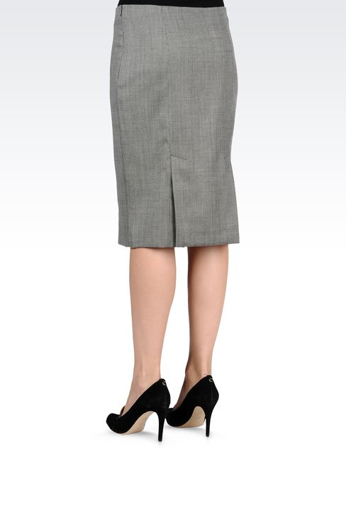 MICROPATTERNED STRETCH WOOL 3/4 LENGTH SKIRT: Knee length skirts Women by Armani - 3