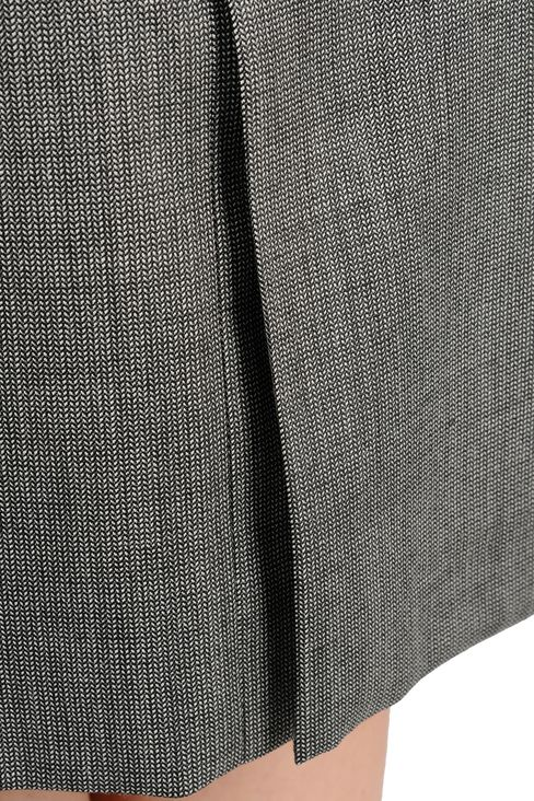 MICROPATTERNED STRETCH WOOL 3/4 LENGTH SKIRT: Knee length skirts Women by Armani - 4