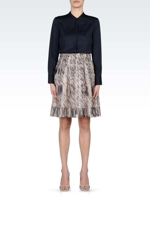 HIGH WAIST SKIRT IN CHIFFON: Knee length skirts Women by Armani - 1