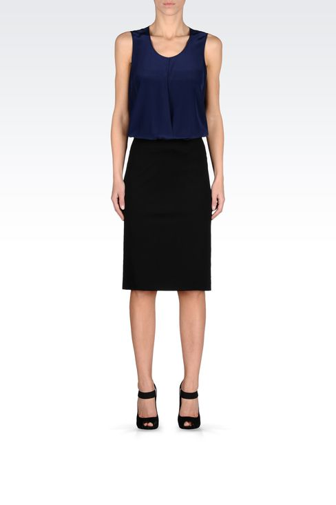 VISCOSE PENCIL SKIRT: Knee length skirts Women by Armani - 1