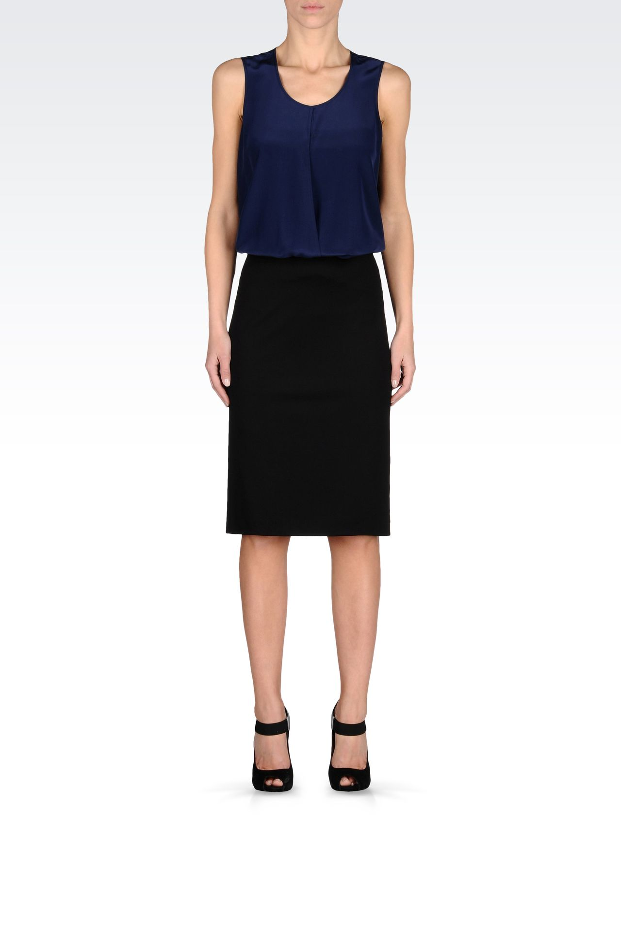 VISCOSE PENCIL SKIRT: Knee length skirts Women by Armani - 0