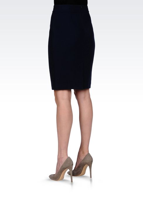 WOOL CRÊPE PENCIL SKIRT: Knee length skirts Women by Armani - 3