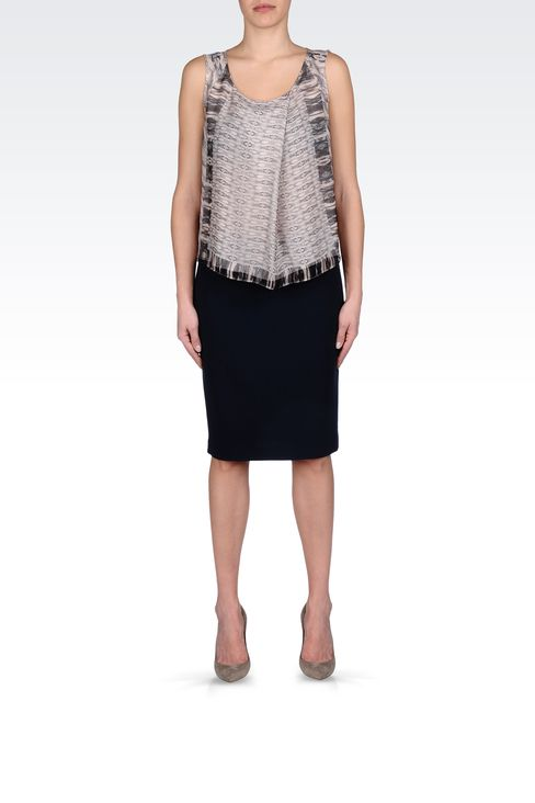 WOOL CRÊPE PENCIL SKIRT: Knee length skirts Women by Armani - 1