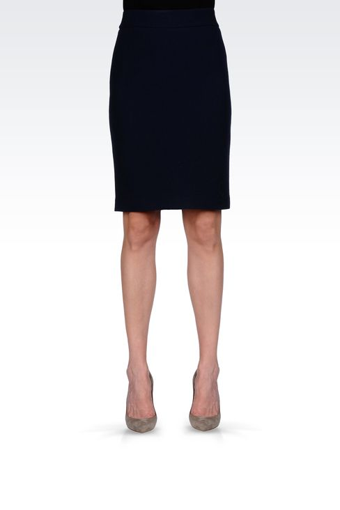WOOL CRÊPE PENCIL SKIRT: Knee length skirts Women by Armani - 2