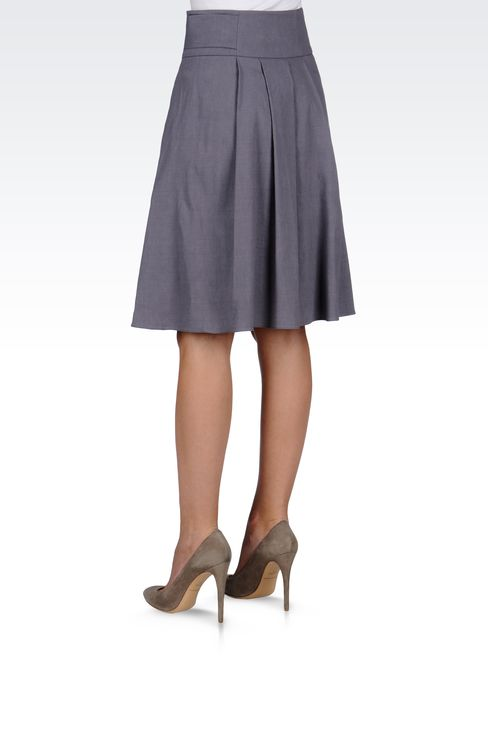 WRAPAROUND SKIRT IN STRETCH LINEN: Knee length skirts Women by Armani - 3