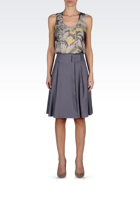 WRAPAROUND SKIRT IN STRETCH LINEN: Knee length skirts Women by Armani - 1