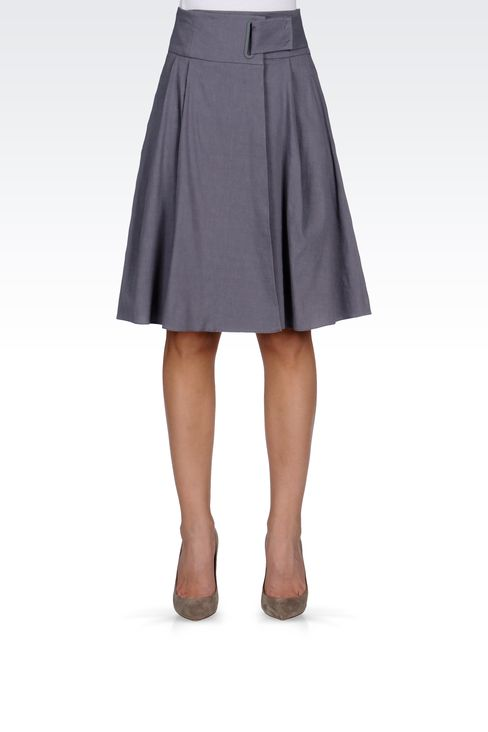 WRAPAROUND SKIRT IN STRETCH LINEN: Knee length skirts Women by Armani - 2