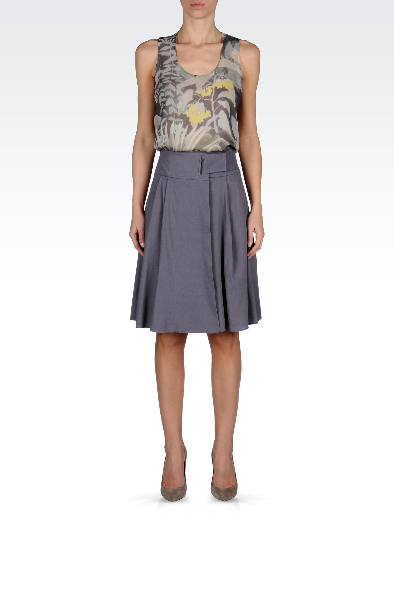WRAPAROUND SKIRT IN STRETCH LINEN: Knee length skirts Women by Armani - 0