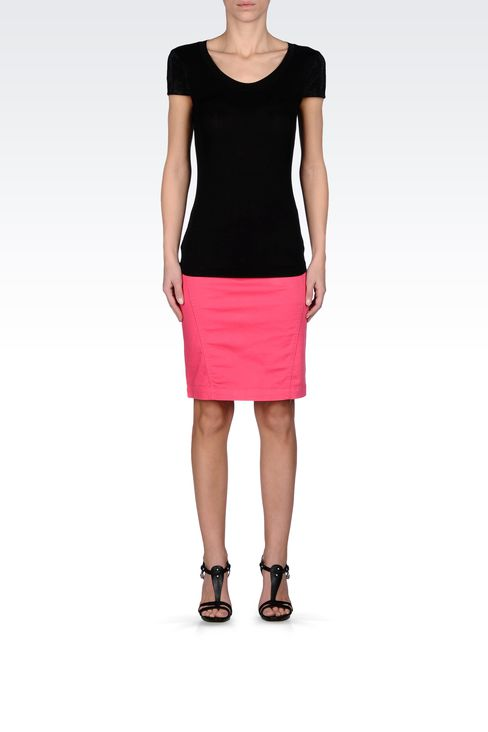 PENCIL SKIRT IN STRETCH COTTON: Mini skirts Women by Armani - 1
