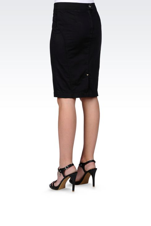 PENCIL SKIRT IN STRETCH COTTON: Mini skirts Women by Armani - 3