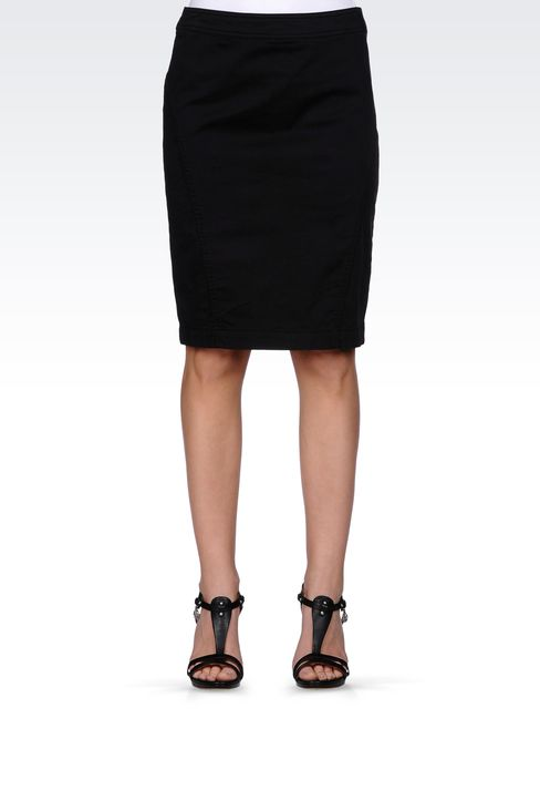 PENCIL SKIRT IN STRETCH COTTON: Mini skirts Women by Armani - 2