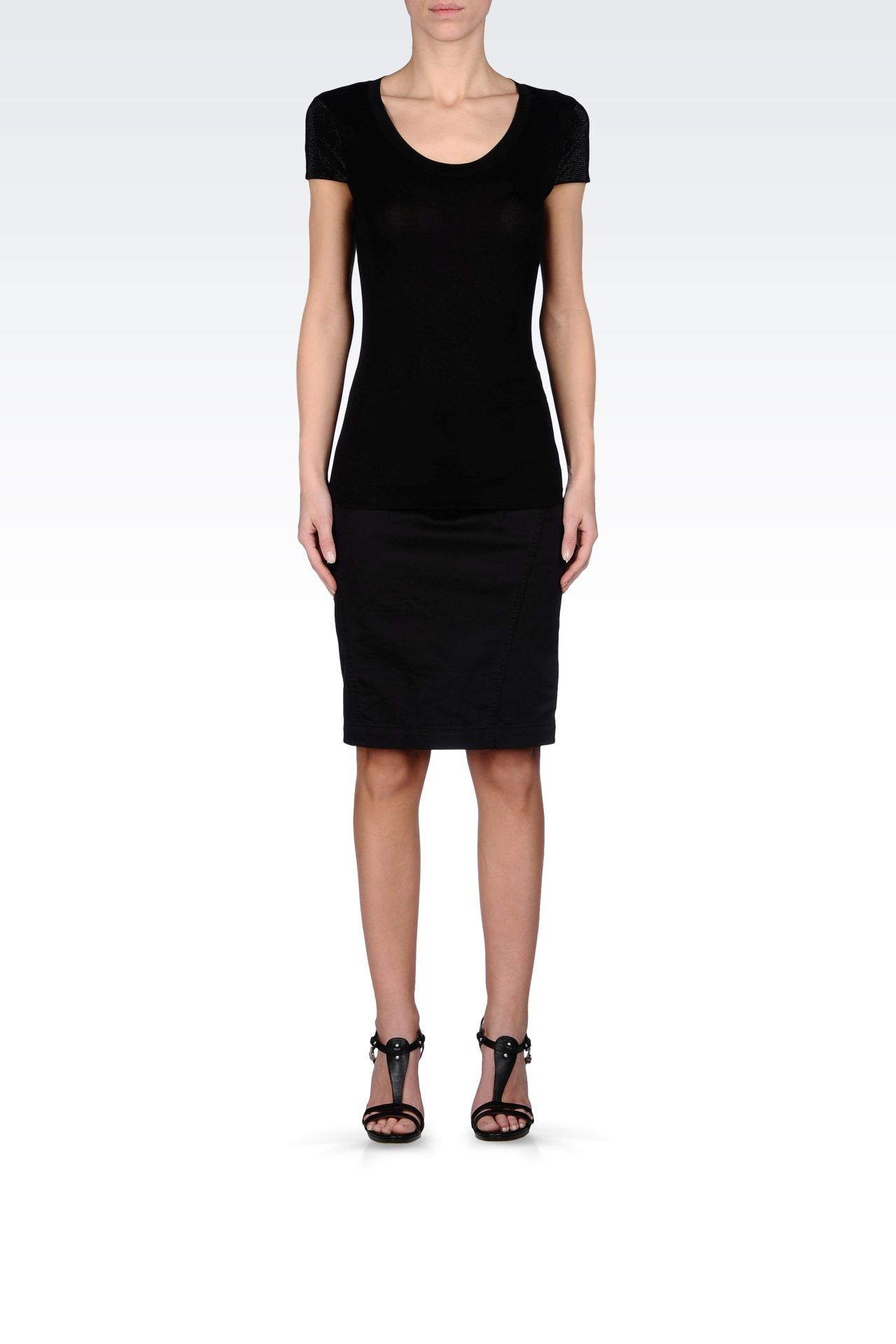 PENCIL SKIRT IN STRETCH COTTON: Mini skirts Women by Armani - 0