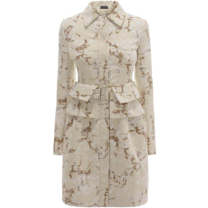Alexander McQueen, Flock Jacquard Utility Peplum Coat Dress