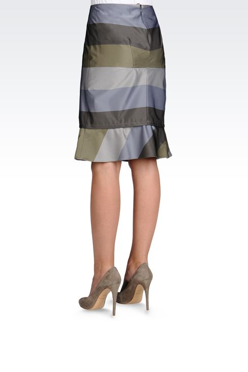 PENCIL SKIRT WITH STRIPED RUFFLE DETAIL: Knee length skirts Women by Armani - 3