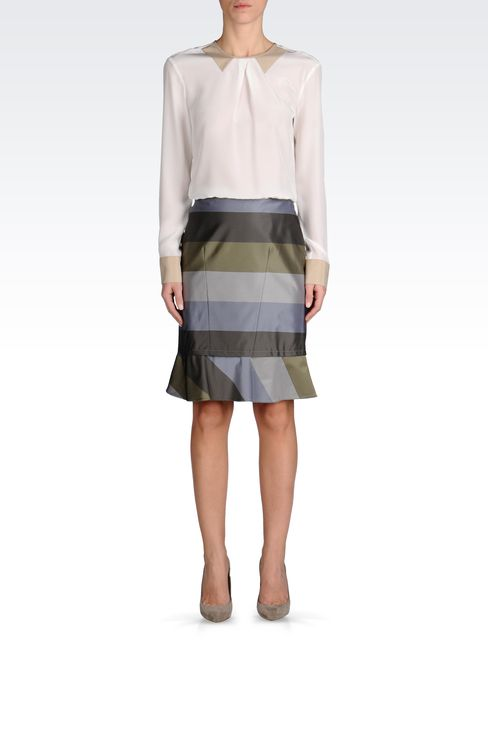 PENCIL SKIRT WITH STRIPED RUFFLE DETAIL: Knee length skirts Women by Armani - 1