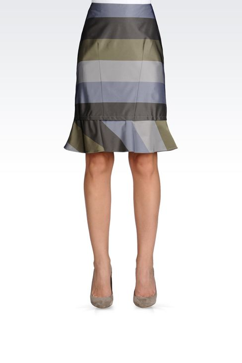 PENCIL SKIRT WITH STRIPED RUFFLE DETAIL: Knee length skirts Women by Armani - 2