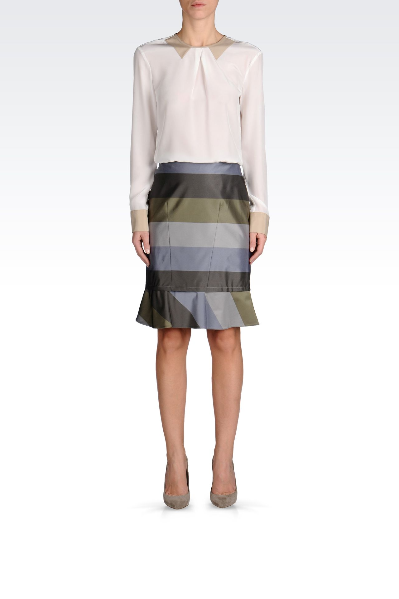 PENCIL SKIRT WITH STRIPED RUFFLE DETAIL: Knee length skirts Women by Armani - 0