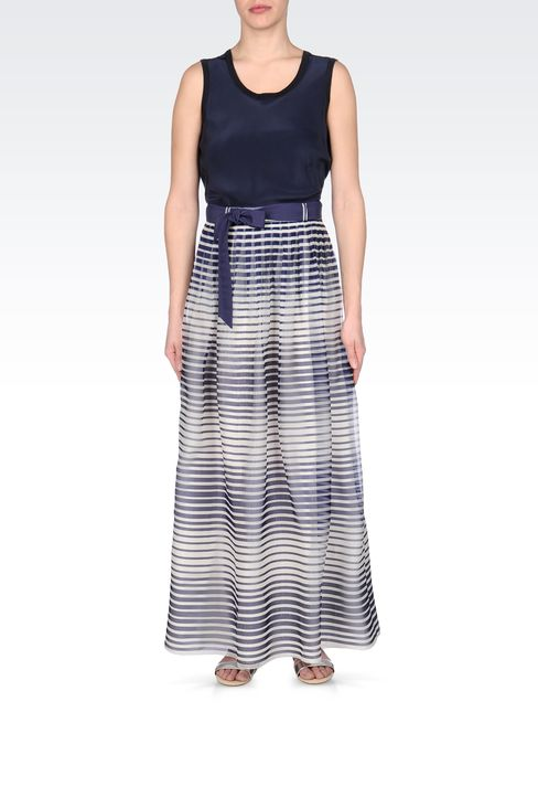 STRIPED SILK LONG SKIRT: Long skirts Women by Armani - 1
