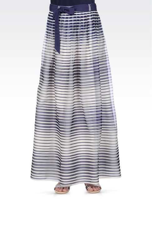 STRIPED SILK LONG SKIRT: Long skirts Women by Armani - 2