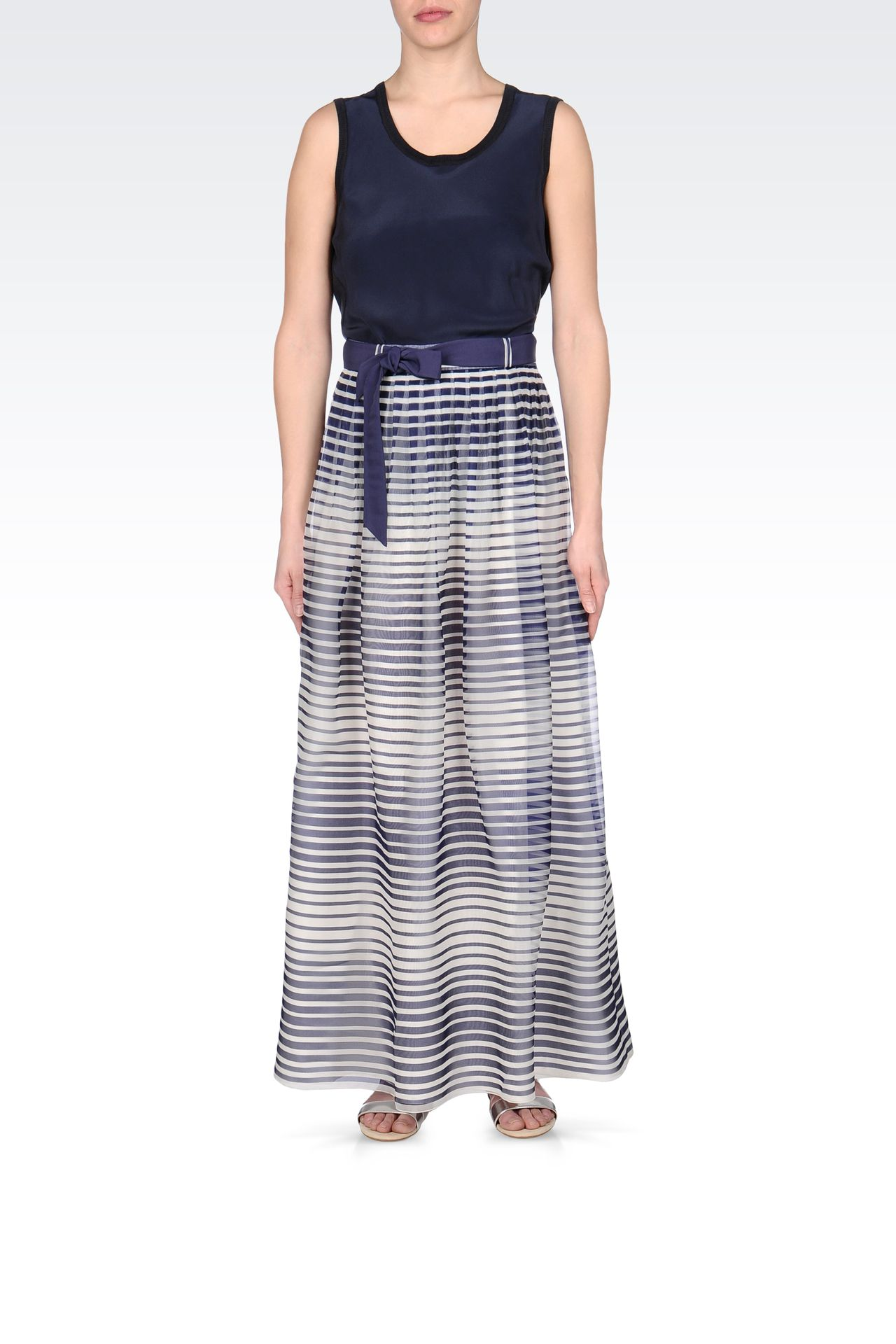 STRIPED SILK LONG SKIRT: Long skirts Women by Armani - 0