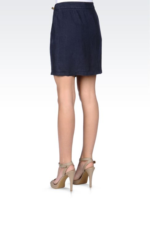 WRAPAROUND SKIRT IN LINEN: Mini skirts Women by Armani - 3