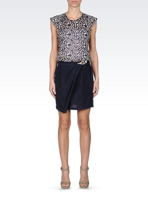 WRAPAROUND SKIRT IN LINEN: Mini skirts Women by Armani - 1