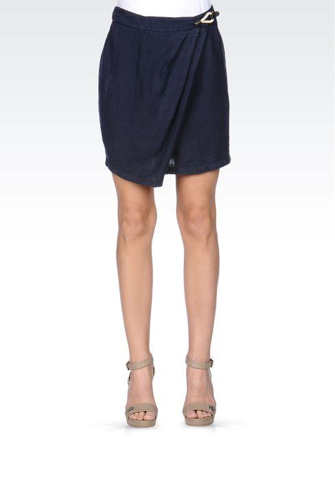 WRAPAROUND SKIRT IN LINEN: Mini skirts Women by Armani - 2